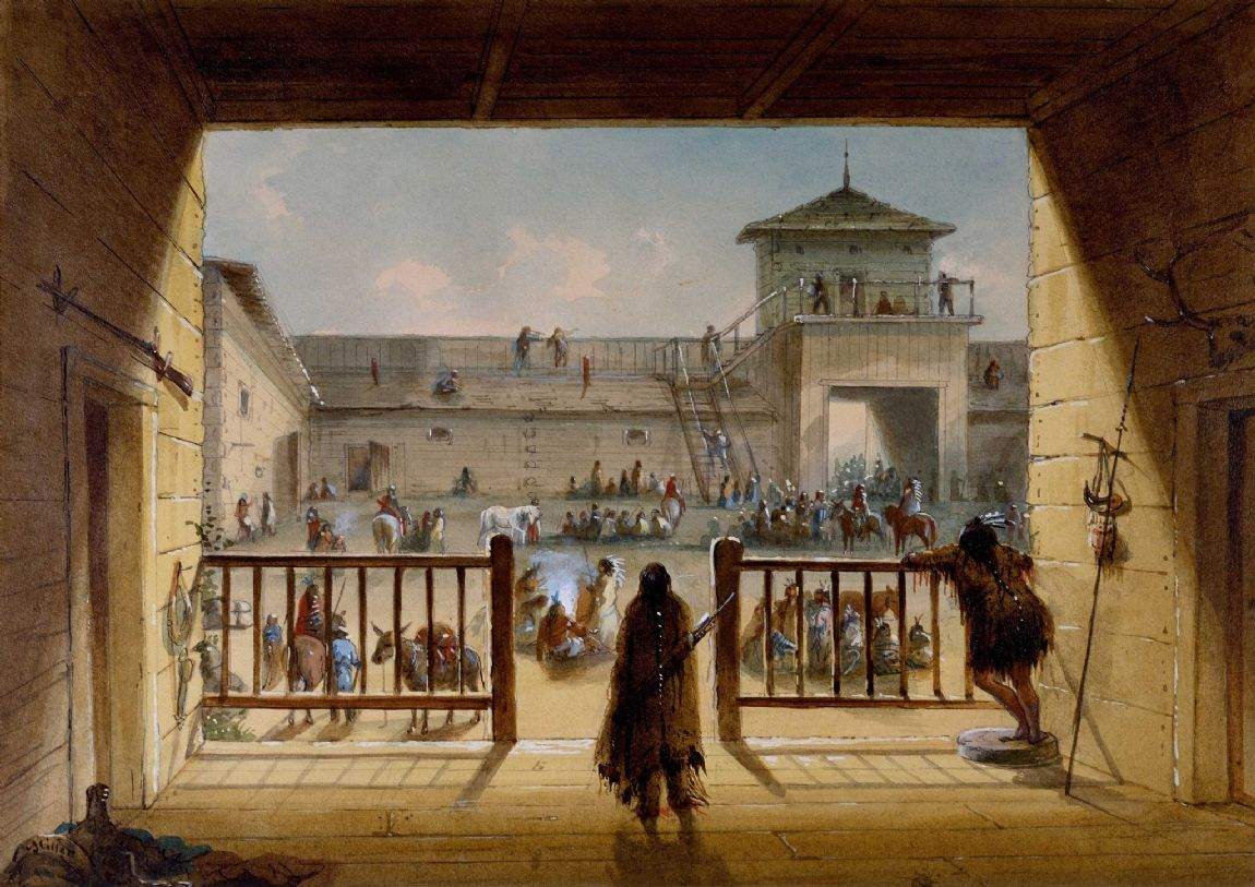 Miller, Alfred Jacob: Interior of Fort Laramie. Fine Art Print/Poster. Sizes: A4/A3/A2/A1 (003816)